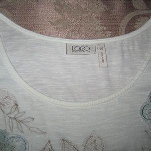LOGO by Lori Goldstein Tops - LOGO Lori Goldstein Cream Embroidered  Top XS